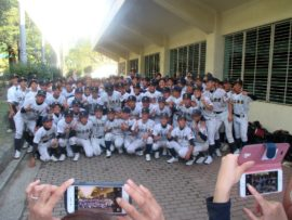 秋季県高校野球大会優勝 明石商・記念撮影